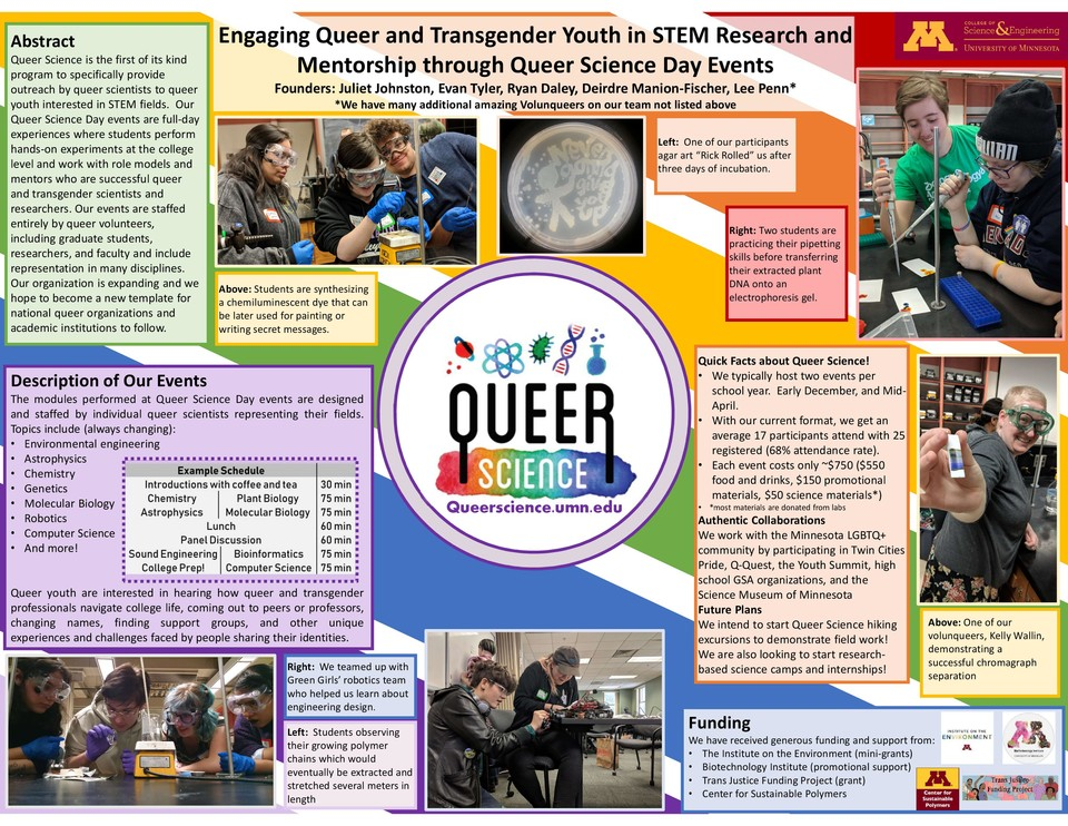 Scientific poster describing Queer Science